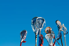 Vele lacrossestokken in de lucht Stock Fotografie