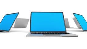 Vele laptops in een geïsoleerde cirkel vector illustratie