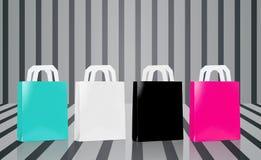 Vele lege het winkelen zakken Stock Afbeeldingen