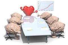 Vele menselijke hersenen die rond de lijst samenkomen Stock Foto's