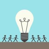 Vele mensen en lightbulb Stock Illustratie