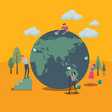 Vele mensen geholpen de wereld schoonmaken Stock Afbeeldingen