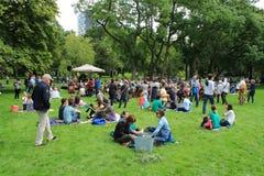 Vele mensen in het park voor de muziekgebeurtenis in de stad Rotterdam in de zomer Stock Foto's