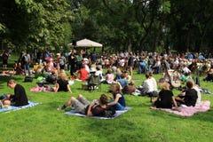 Vele mensen in het park voor de muziekgebeurtenis in de stad Rotterdam in de zomer Royalty-vrije Stock Foto