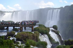 Vele mensen in Iguassu-Dalingen Royalty-vrije Stock Foto's