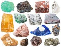 Vele minerale geïsoleerde rotsen en stenen Royalty-vrije Stock Afbeeldingen