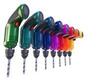 Vele multi-colored boren Stock Foto