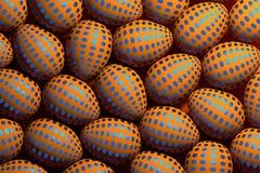 Vele oranje paaseieren met blauw gestippeld patroon vector illustratie