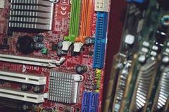 Vele PC-Computermotherboards Van de de kernbewerker van de kringscpu spaander mainboard de elektronikaapparaten Oude Motherboard  stock afbeelding