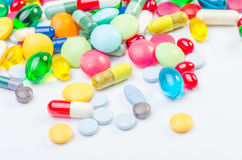 Vele pillen en tabletten Royalty-vrije Stock Foto