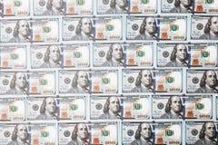 Vele rekeningen van 100 dollars, Amerikaans bankbiljet, achtergrond van geld, het close-up van de contant geldmunt, het Voorzitte Royalty-vrije Stock Foto