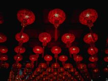 Vele rode Chinese lantaarns op het plafond royalty-vrije stock fotografie