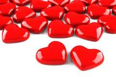 Vele rode harten die op wit worden geïsoleerda Royalty-vrije Stock Foto's