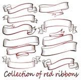 Vele rode linten Stock Afbeelding