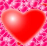 Vele roze harten met bezinning Stock Afbeeldingen