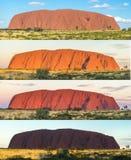 Vele schaduwen van Ayers schommelen, Uluru, Centraal Australië stock afbeelding