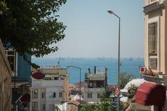 Vele schepen in het overzees Straat van Bosporus Turkije, Istanboel Royalty-vrije Stock Foto's