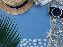 Vele shells, schitteren netto, tropisch blad en uitstekende camera Stock Foto