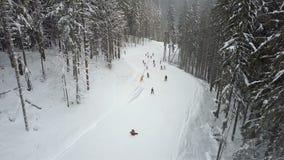 Vele skiërs en snowboarders dalen onderaan de skihelling stock footage