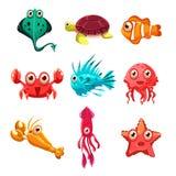 Vele species van vissen en het mariene dierlijke leven stock illustratie