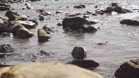 Vele stenen in het water in overzeese langzame mo stock footage