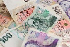 Vele Tsjechische rekeningen van de kroonmunt Stock Afbeelding