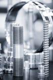 Vele types van metaal detailleert industriële ontwerpachtergrond Stock Foto