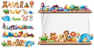 Vele types van speelgoed en document malplaatje vector illustratie