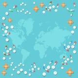 Vele van geneeskundepillen en tabletten capsule medische achtergrond Royalty-vrije Stock Afbeeldingen