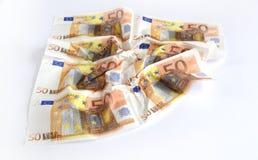 Vele verschillende euro bankbiljetten Stock Fotografie