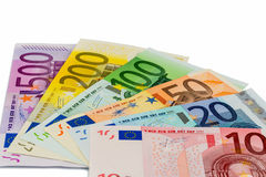 Vele verschillende euro rekeningen Royalty-vrije Stock Foto's