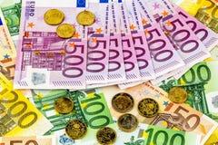 Vele verschillende euro rekeningen Royalty-vrije Stock Foto