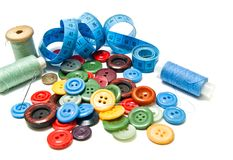 Vele verschillende knopen en spoelen van draad Royalty-vrije Stock Foto