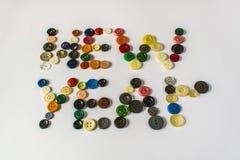 Vele verschillende knopen Knopen voor kleren van plastiek worden gemaakt dat Mening van hierboven Royalty-vrije Stock Afbeelding