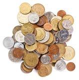 Vele verschillende muntstukkeninzameling royalty-vrije stock afbeelding