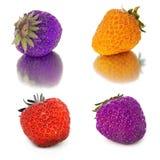 Vele verschillende reeksen aardbeien op witte achtergrond, isoleren met aardbeien, een verschillend op één blad Royalty-vrije Stock Afbeeldingen