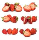 Vele verschillende reeksen aardbeien op witte achtergrond, isoleren met aardbeien, een verschillend op één blad Stock Foto