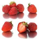 Vele verschillende reeksen aardbeien op witte achtergrond, isoleren met aardbeien, een verschillend op één blad Royalty-vrije Stock Fotografie