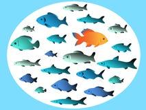 Vele vissen zwemmen in tegenovergestelde richtingen royalty-vrije illustratie