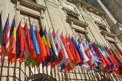 Vele vlaggen van verschillende landen Stock Afbeeldingen