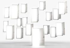 Vele vliegende open deuren die met helder licht door hen glanzen C Royalty-vrije Stock Foto