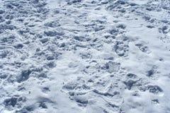 Vele voetafdrukken in de sneeuw Stock Fotografie