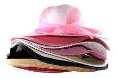 Vele vrouwelijke hoeden Stock Foto's