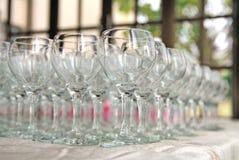 Vele wijnglazen Royalty-vrije Stock Foto's
