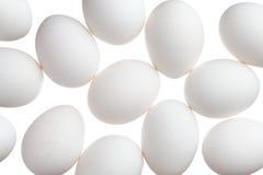 Vele witte die eieren op wit worden geïsoleerd stock afbeeldingen