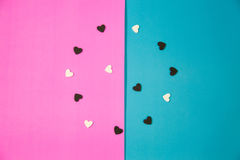 Vele witte en zwarte harten stock fotografie