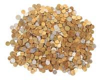 Vele zilveren en gouden geïsoleerdeu muntstukken Stock Afbeelding