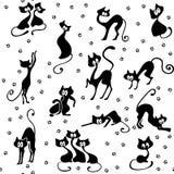 Vele zwarte naadloze katten Stock Afbeeldingen