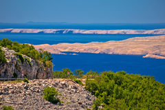 Velebit channel seaside road and desert islands of Pag and Rab v Stock Photo