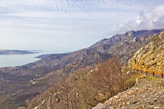 Velebit mountain cliffs and road Royalty Free Stock Photos
